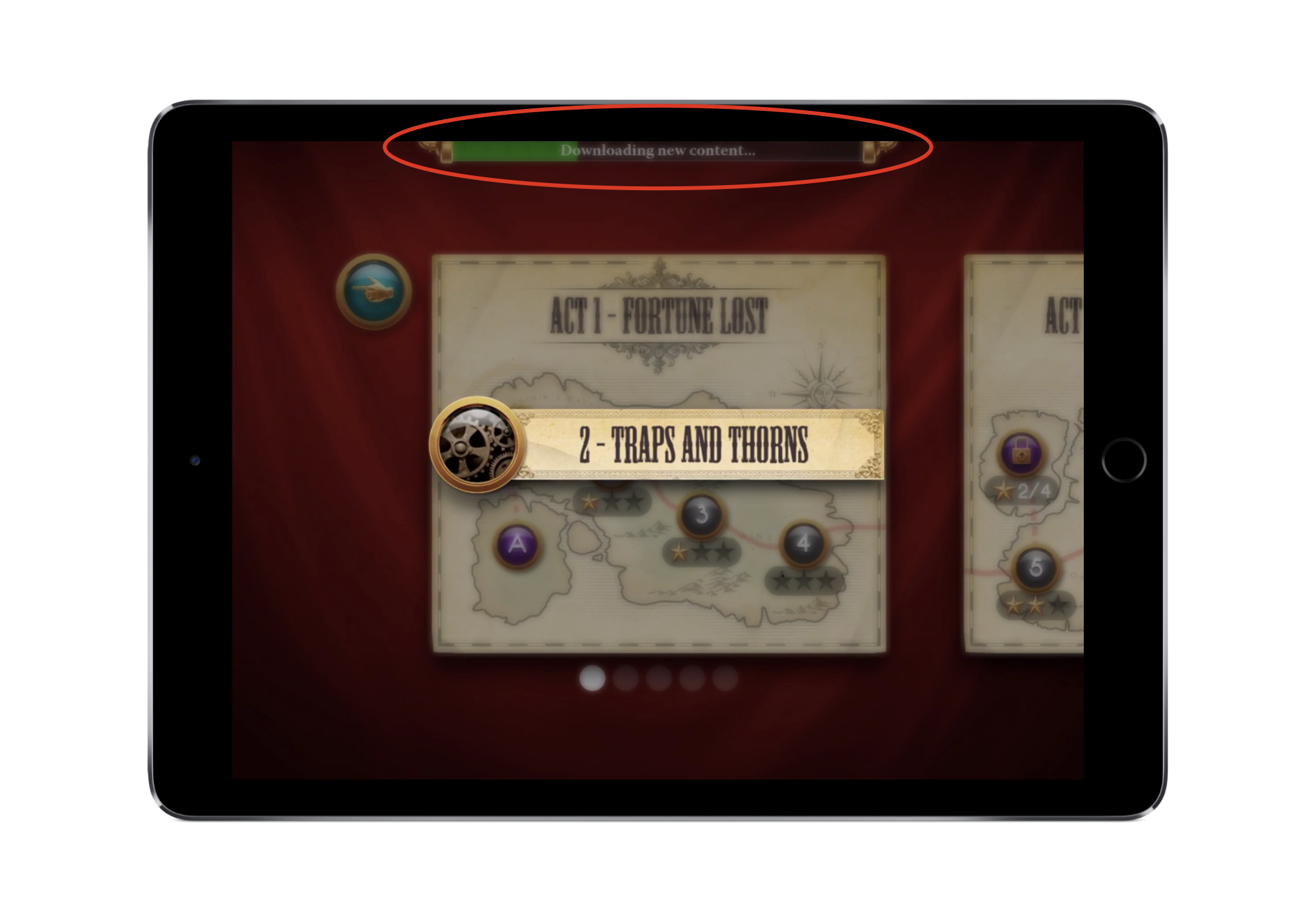 The game has downloaded enough content initially to allow users to play through the first few levels without delay.