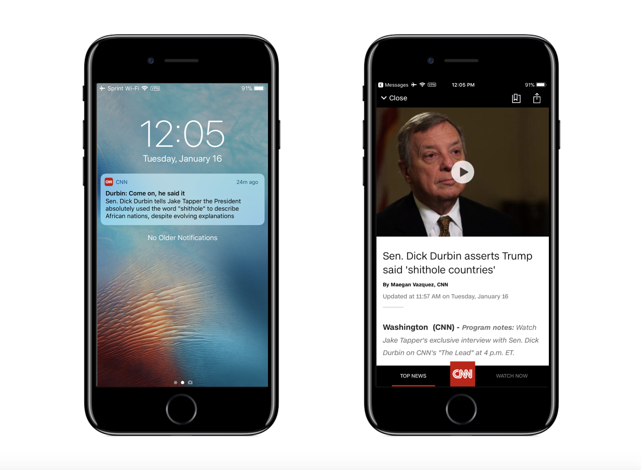 Once a user taps a notification from   CNN  , they are immediately deep linked to the story.