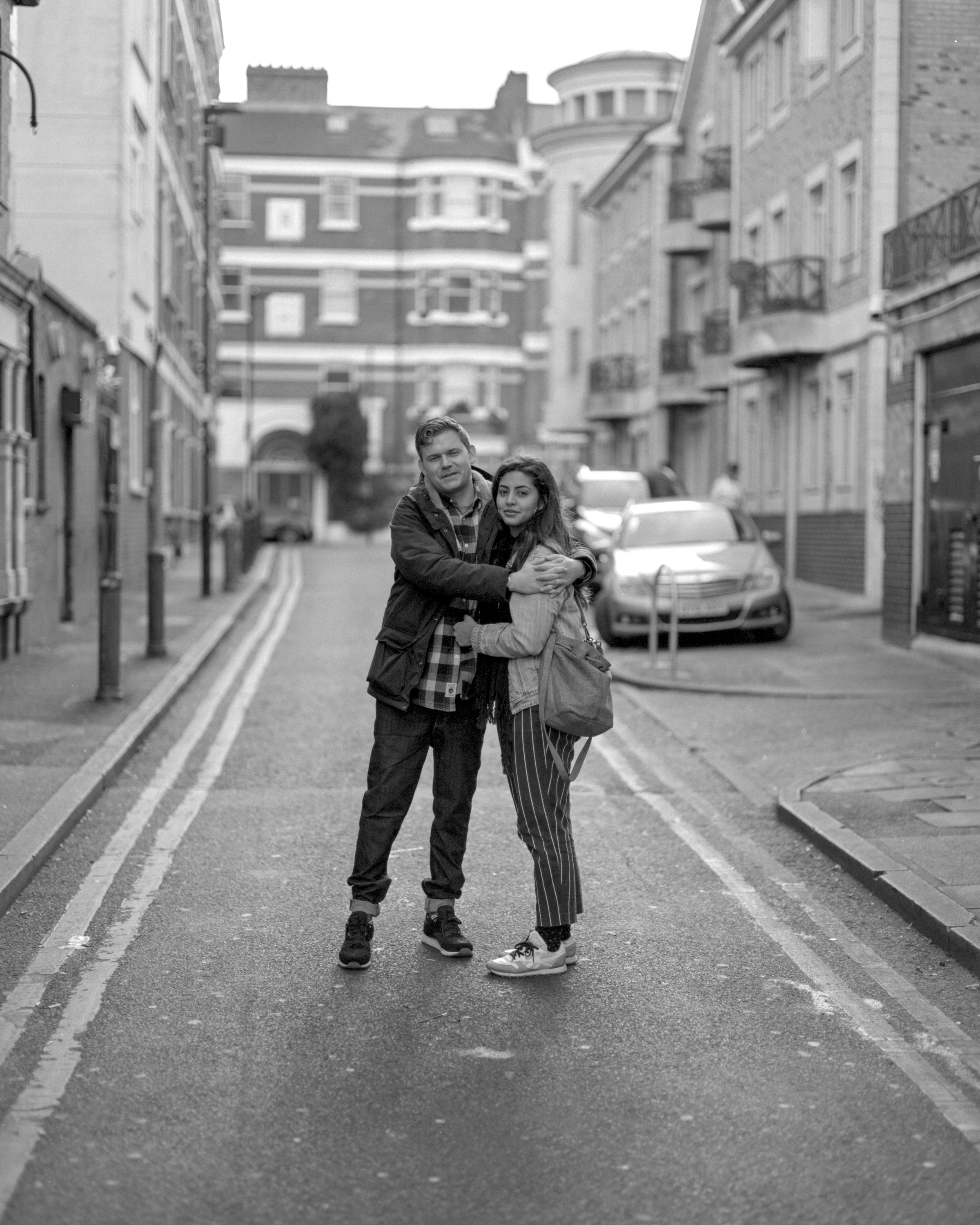 The Brixton couple  Pentax 67, Takumar 105mm, Ilford HP5