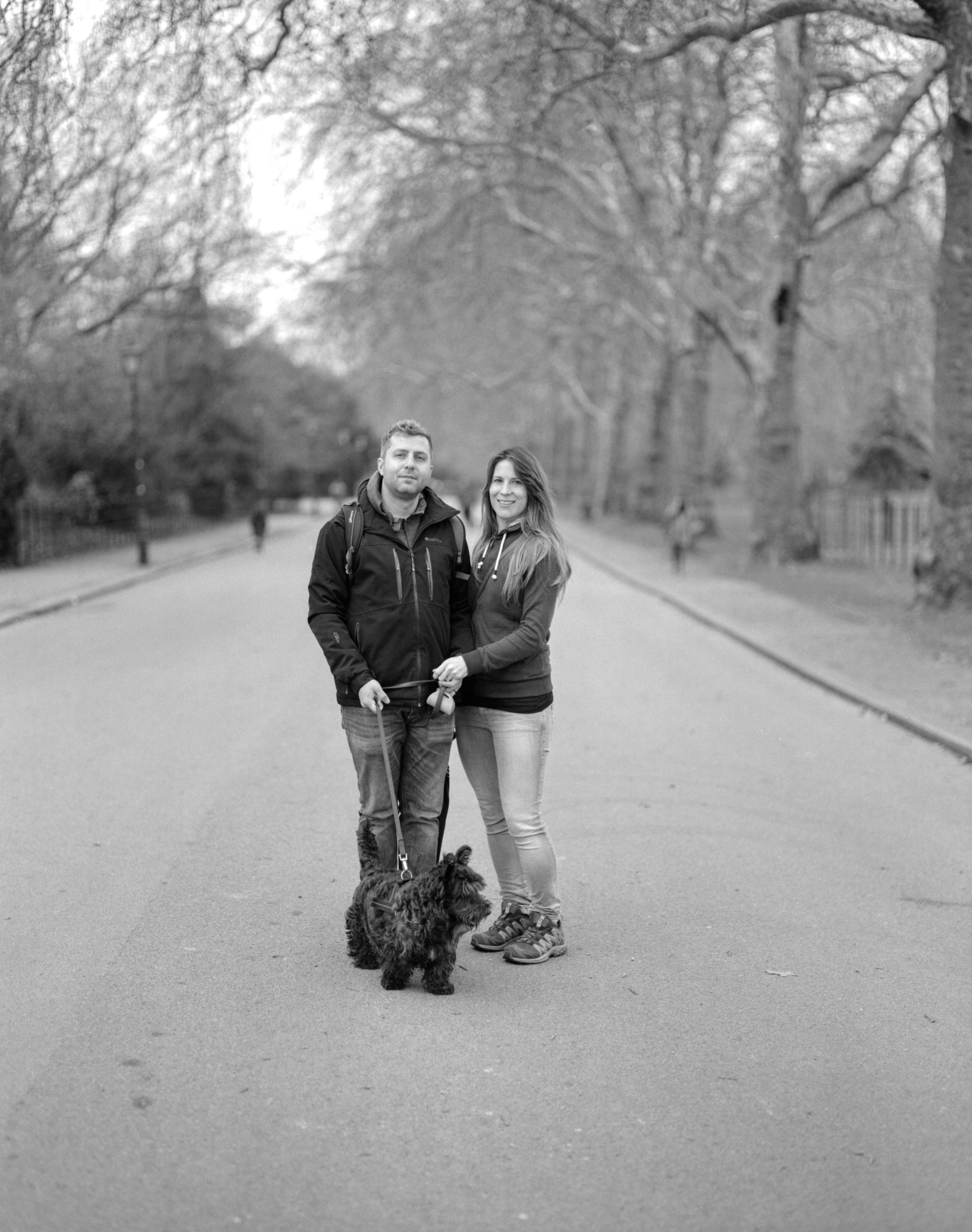 Kerryn and Steven (and stoffel)  Pentax 67, Takumar 105mm, Ilford HP5