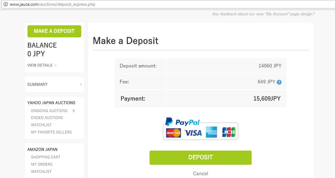How to deposit money into jauce.com