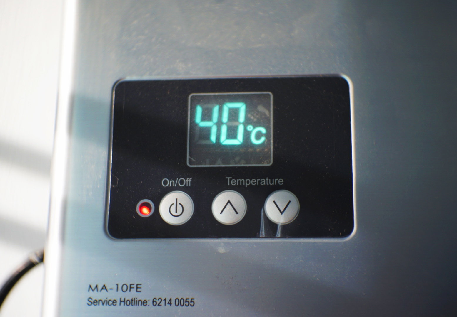 Temperature adjustment option on the LED display of the Macro MA-10FE, which allows temperature adjustments in 1°C increments from 36°C all the way to 60°C.