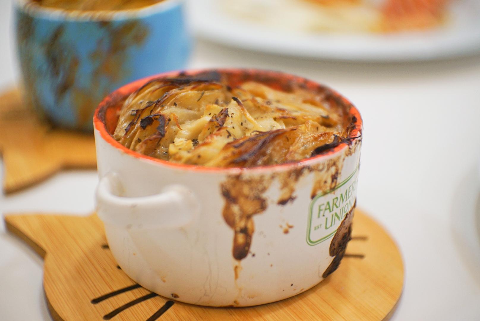 The potato gratin tastes exactly like how it looks - a savoury, creamy, guilty-pleasure.