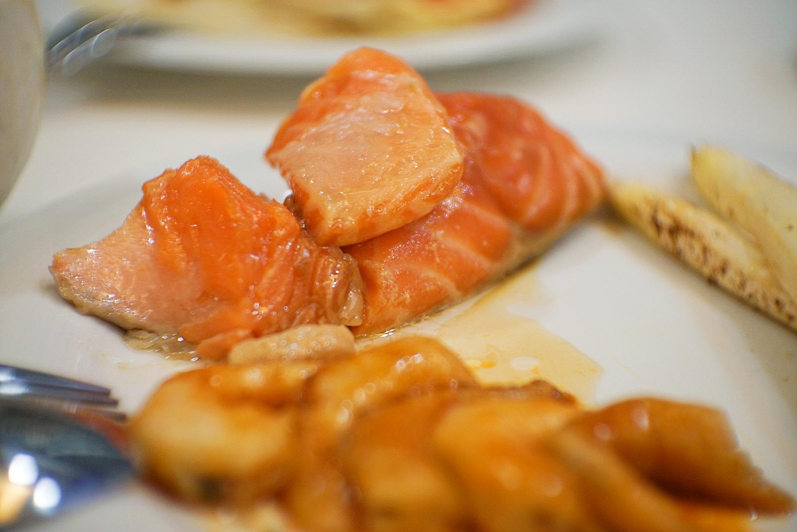 The soy miso sous vide salmon.