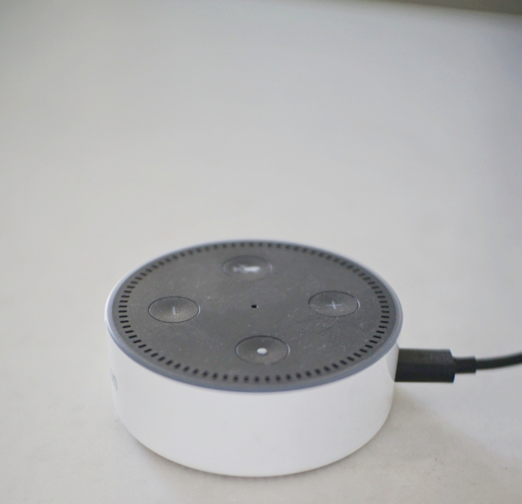 "Amazon's echo dot, which also comes in white, is an internet-connected ""smart"" device."