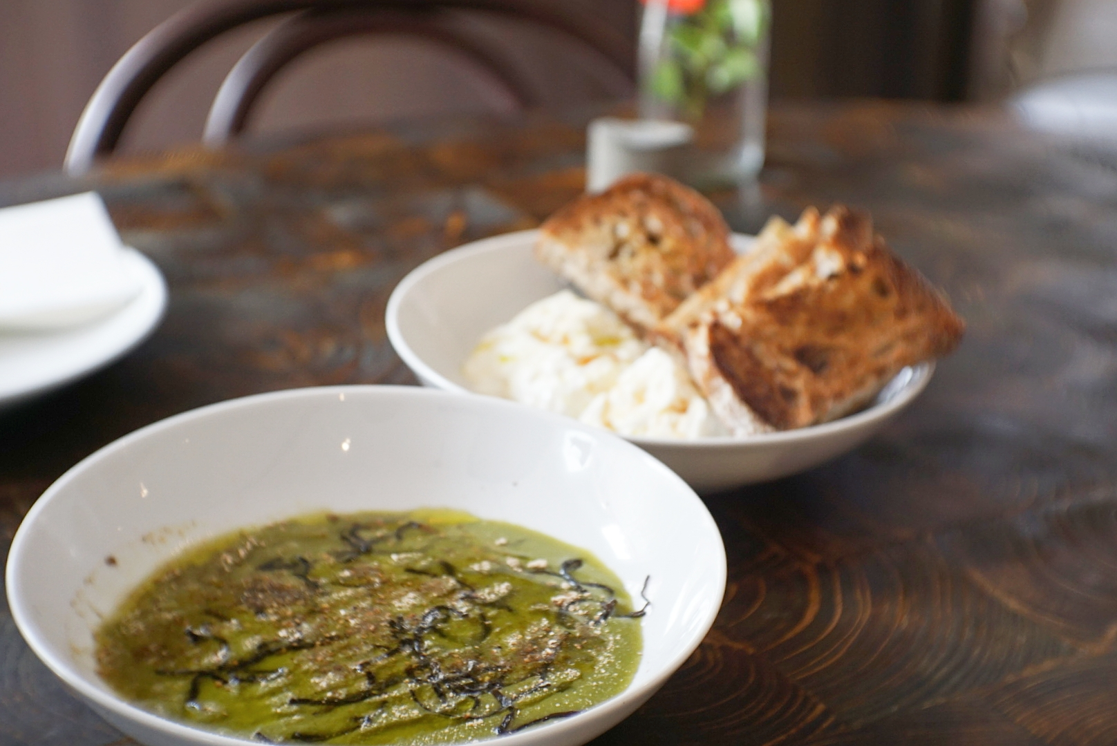 The barley porridge was served together with burrata and sourdough.