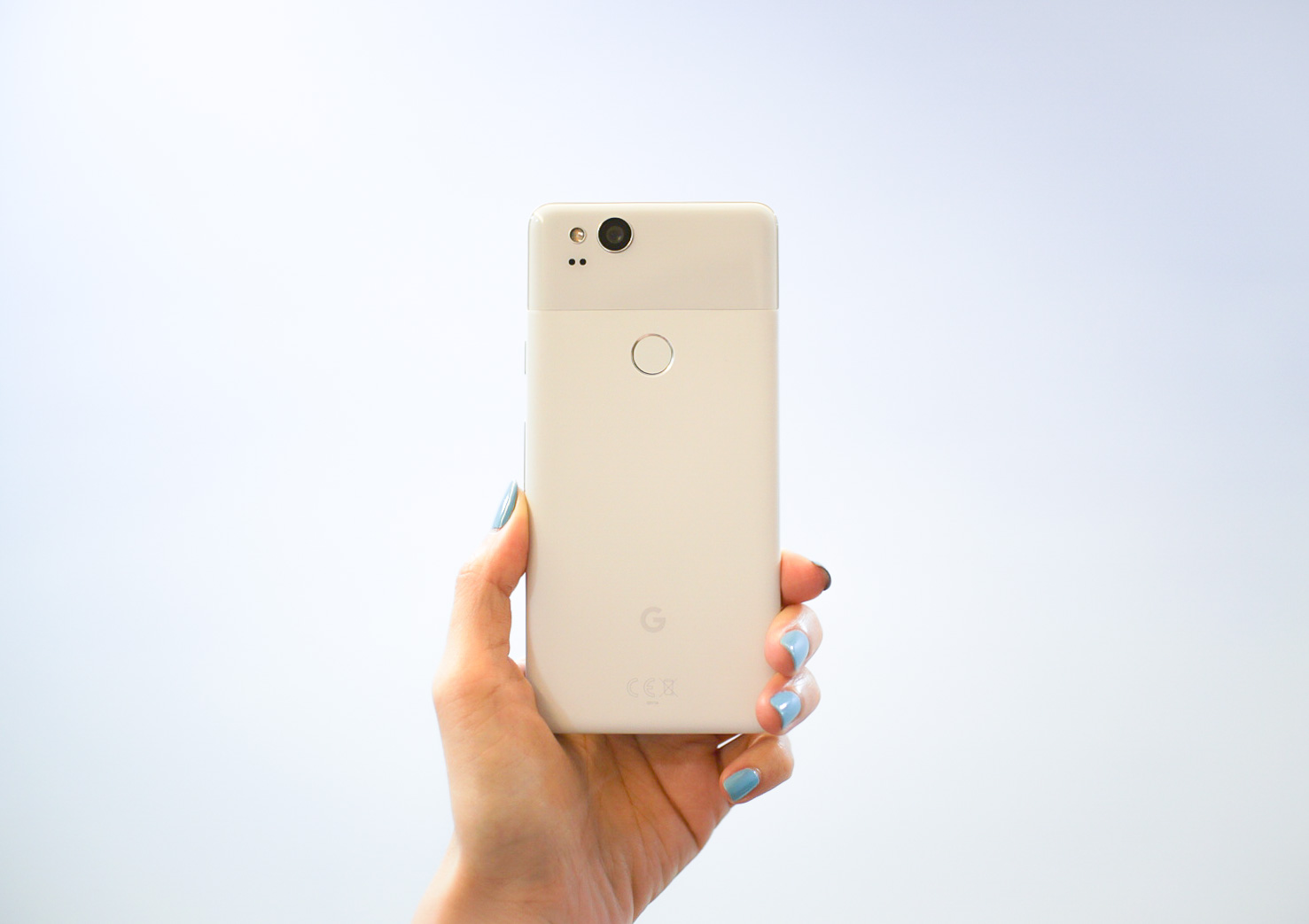 """The  Google Pixel 2 , in """"Clearly White""""."""