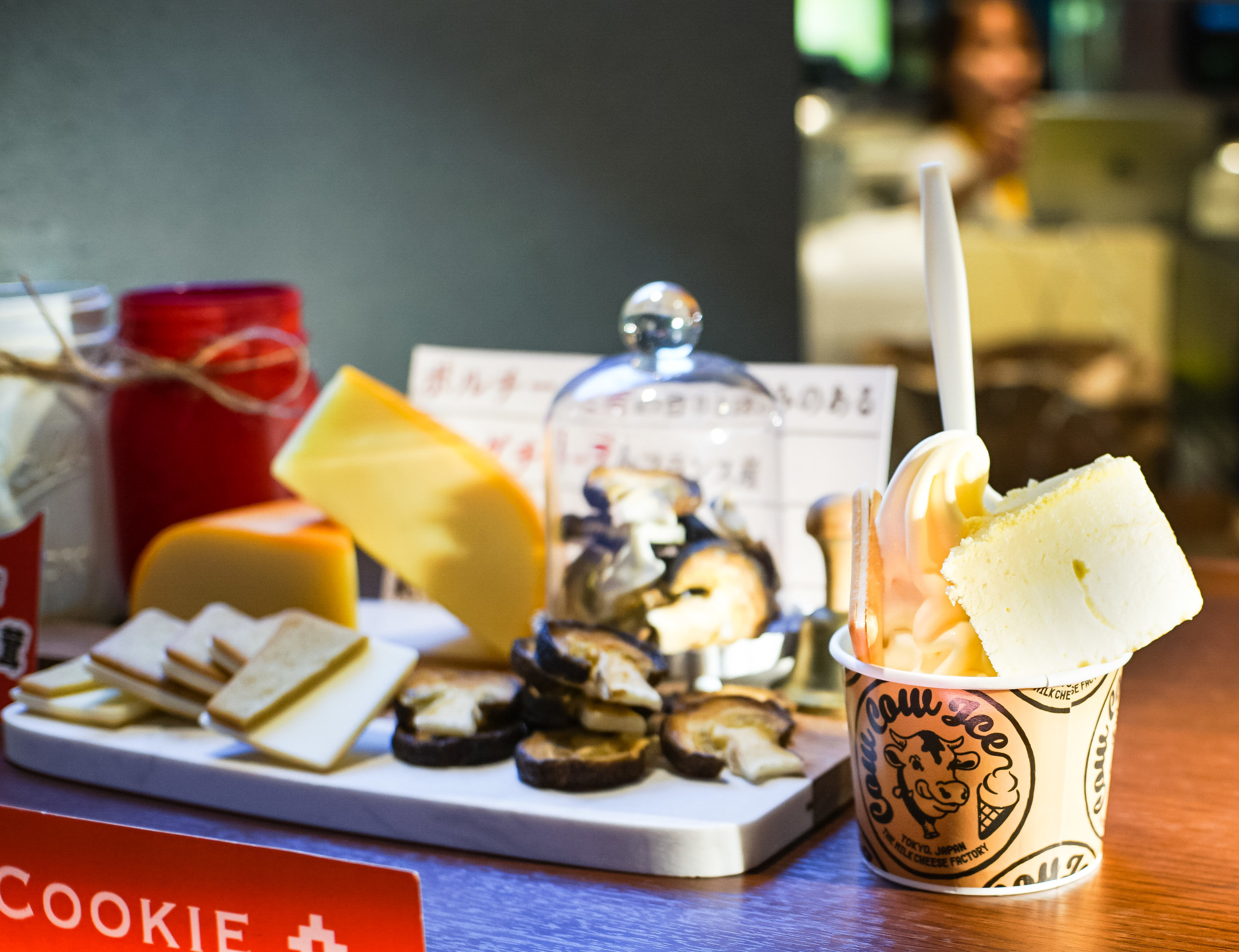 You can see Tokyo Milk Cheese Factory proudly display their cheese and various ingredients to the left, and our Cow Cow Sundae to the right.