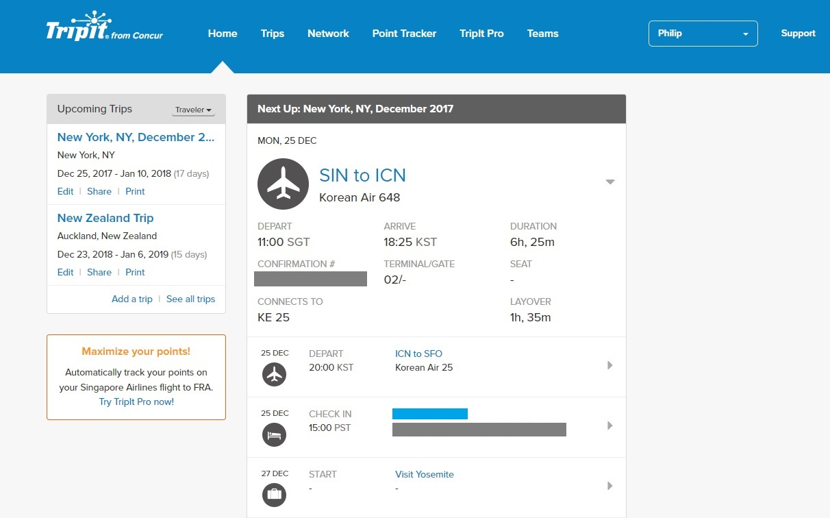 The TripIt landing site/dashboard shows a quick summary of your upcoming travel plans.