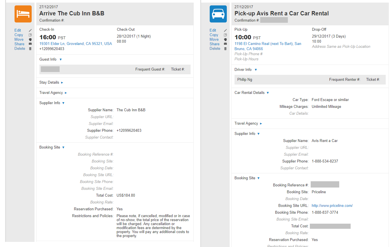 TripIt is helpful for providing details related to your booking confirmations: to the left is our hotel details, and to the right is our car rental details.
