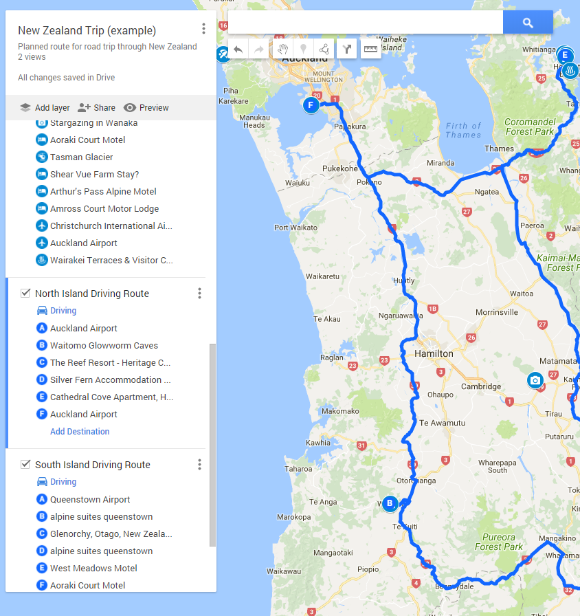 For a quick and easy visual reference for driving routes and distances, Google MyMaps comes in handy.
