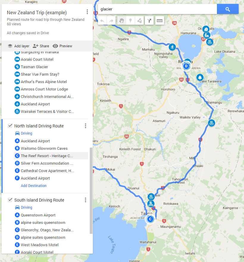 You can add directions in Google MyMaps, and a route will be mapped out for you in sequence. You can change the route by dragging it. Here, you can see the route from Taupo (C) to Rotorua (D).