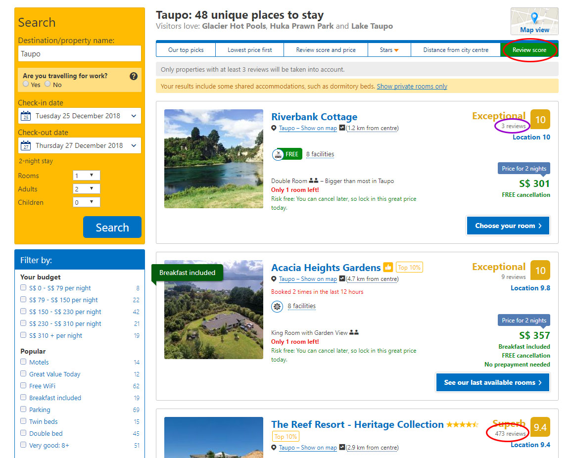 "You can also sort by ""Review score"" on  Booking.com . Although there might be nothing wrong with hotels with very few reviews, generally, you'll want to look for hotels with a larger number of reviews (preferably with at least 150 reviews)."