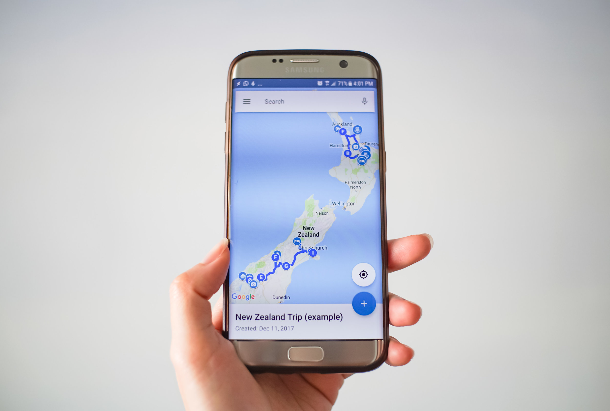The Google MyMaps app on an Android phone.