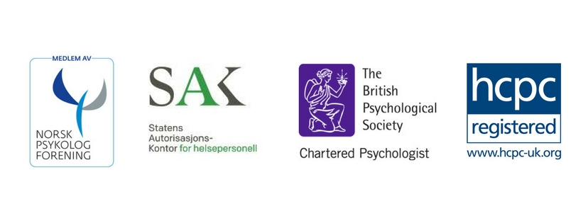 Member of the norsk Psykolog forening, authorised to practice as a psychologist in norway with statens autorisasjons kontor for helsepersonell (sak), chartered member of the british psychological society, registered with the Uk health and care professions council