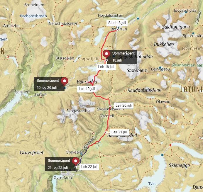 Se større kart her:  Monsens rute i Jotunheimen