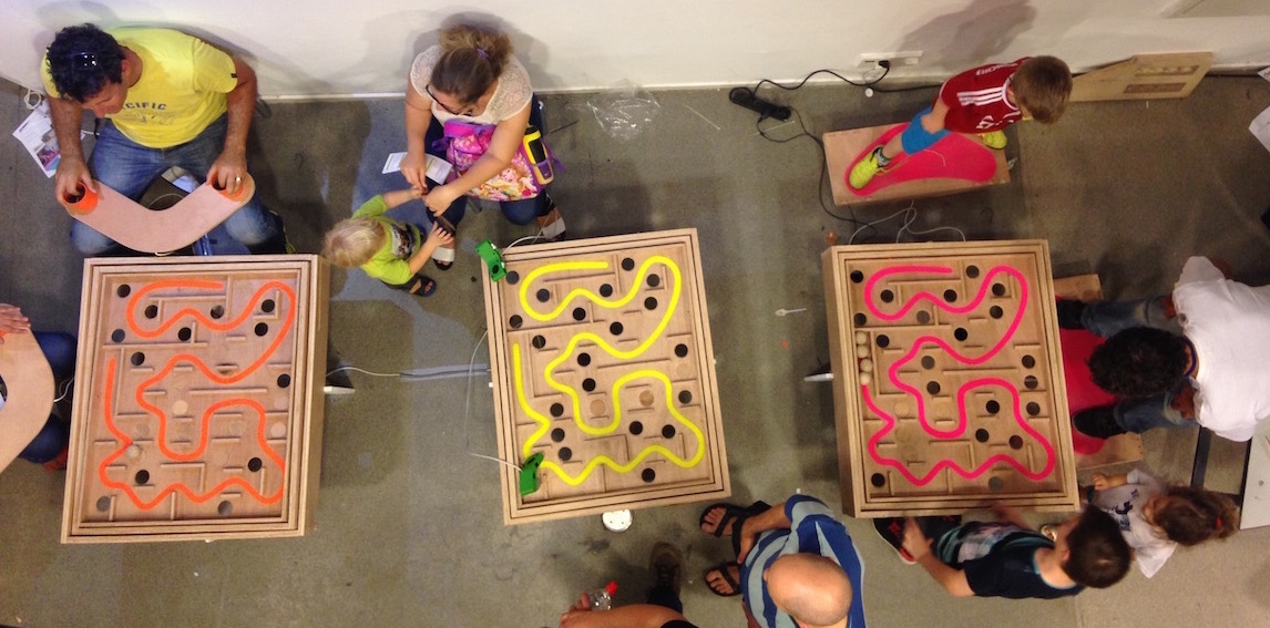 Three versions of The Maze presented at the Maker Fair at the science museum in Jerusalem, 2014