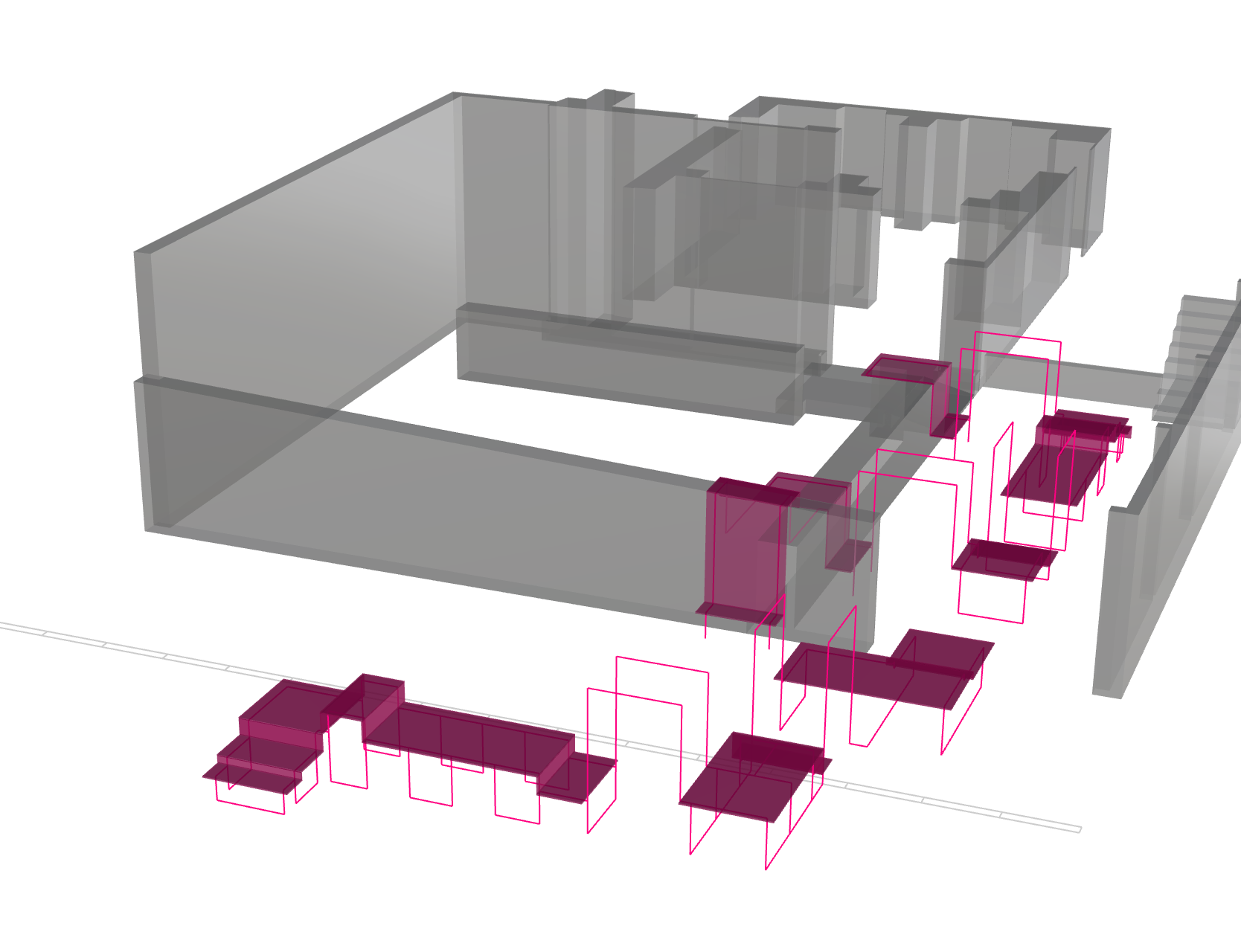 The gray parts are the walls of the gallery, the pink our installation.