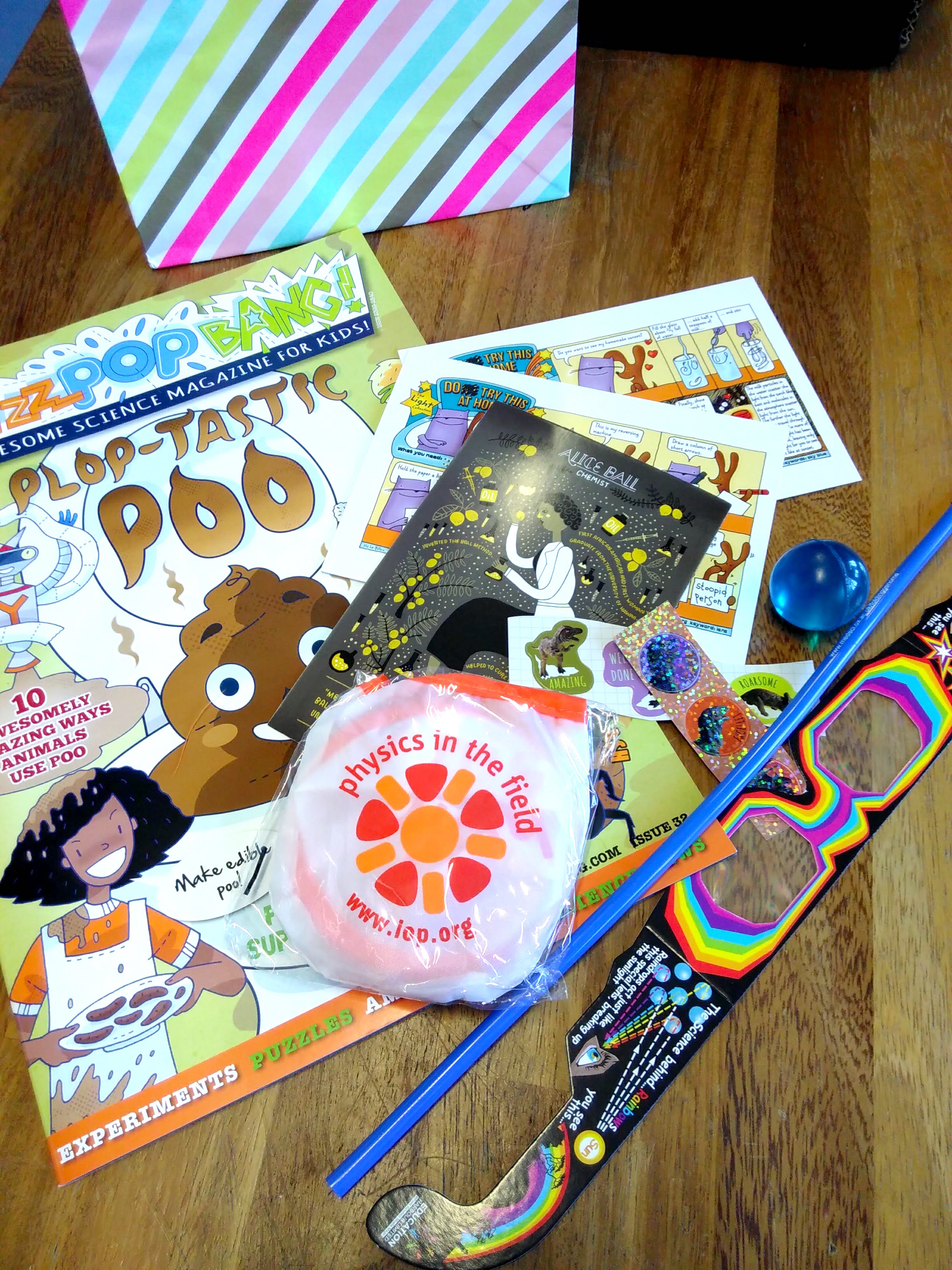 Look at all the science goodies in our goody bags!