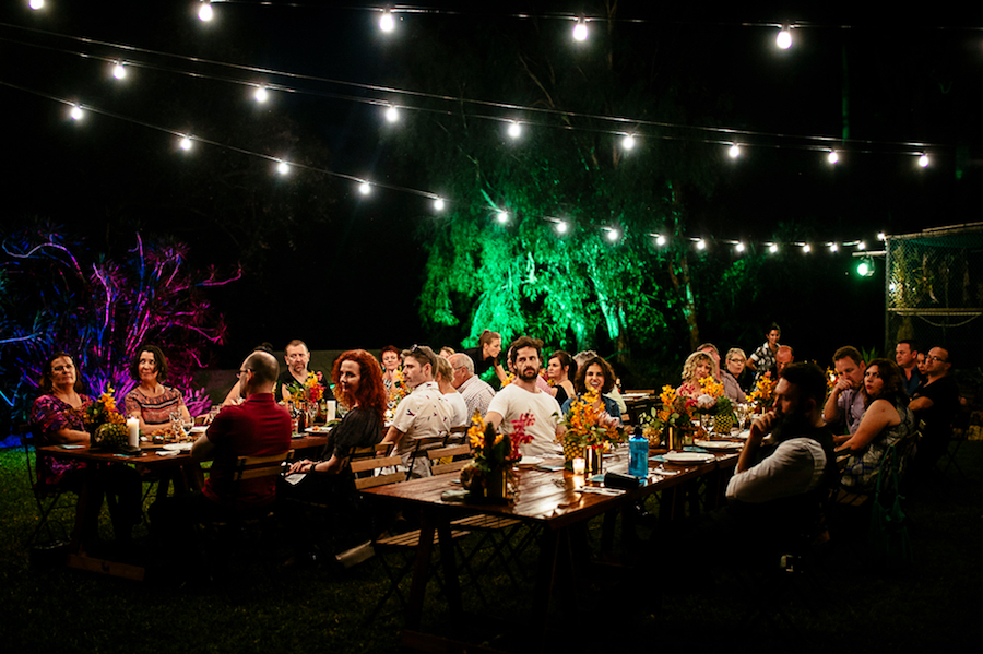 floral centrepieces complete the ambience of this Darwin Botanic Gardens event