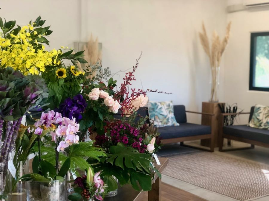 Our display of fresh bloom, the selection is changing daily and space to sit and relax, smell the flowers, while we discuss floral designs for your wedding or event.