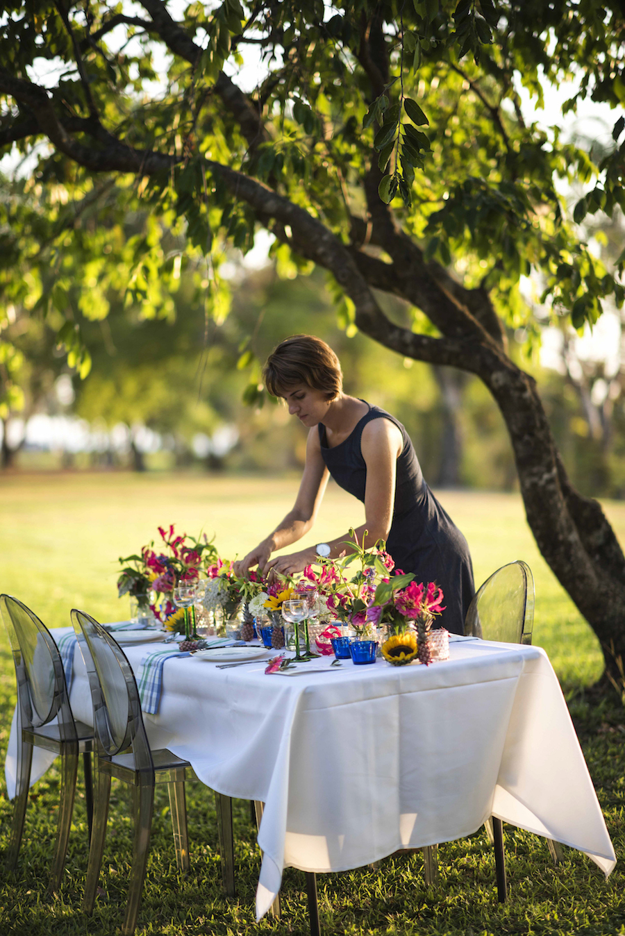 Beija Flor owner and florist, Maria Okwa creates vibrant table of colourful local flowers