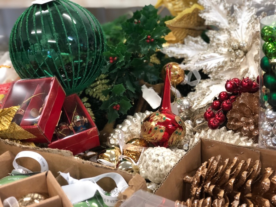 Selection of ornaments and embellishments for a traditional Christmas tree