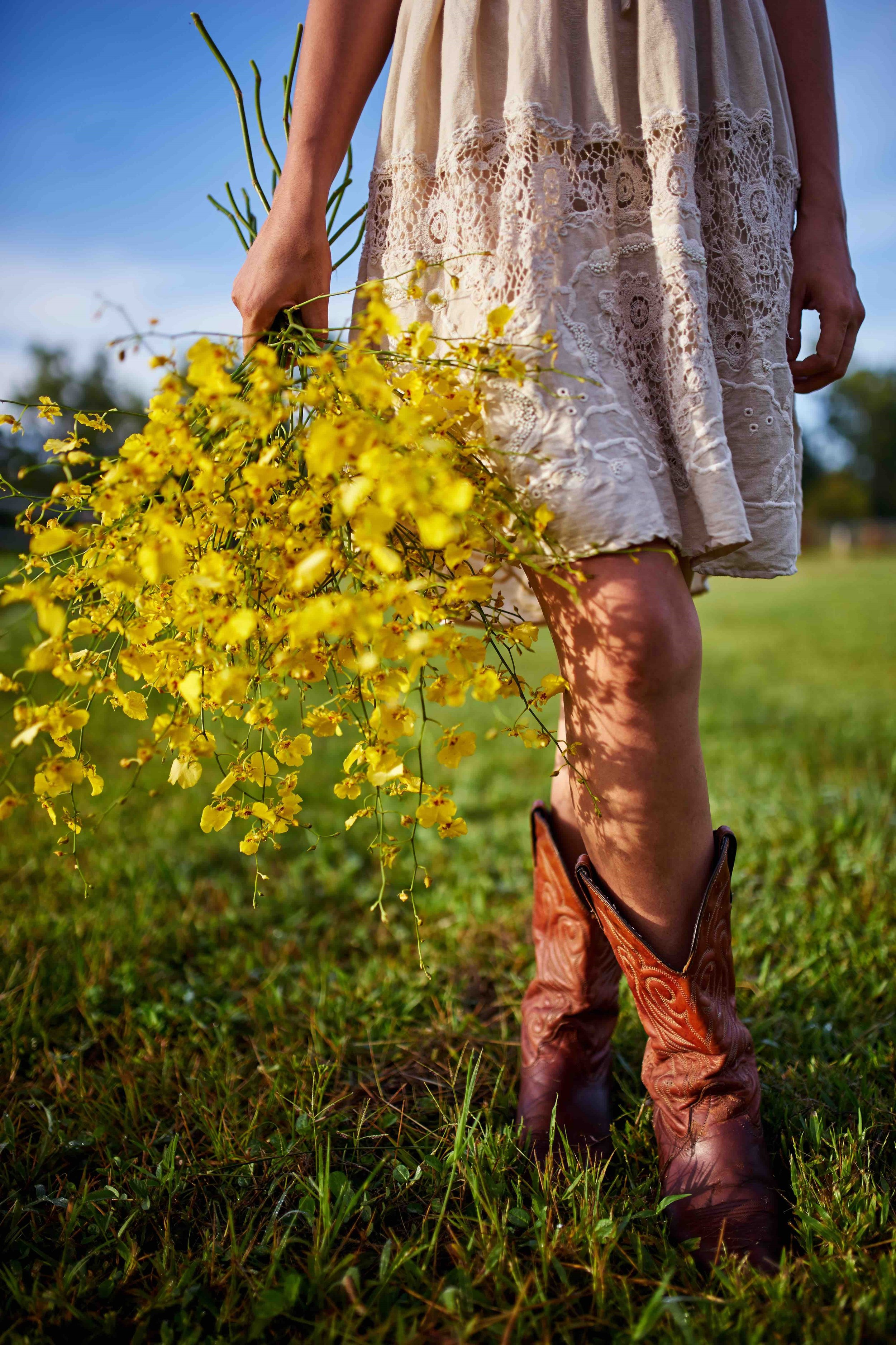linen, cowboy boots and flowers