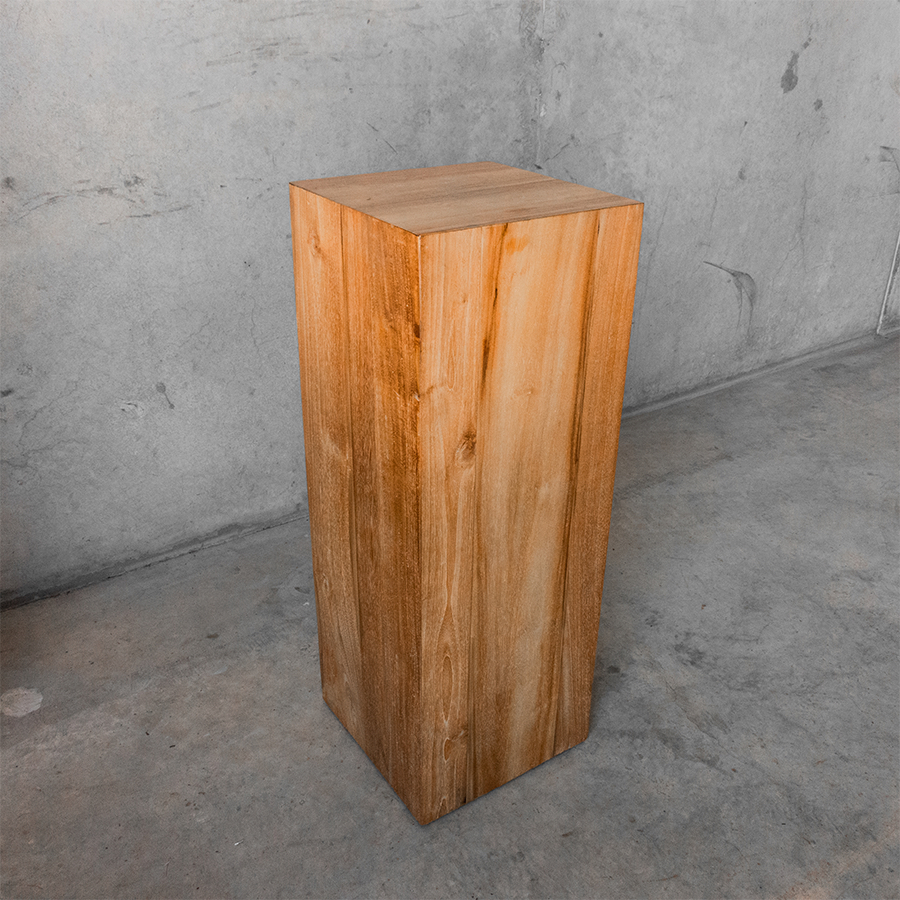 timber plinth or wooden pillar with natural wood grain for creating feature flower arrangements
