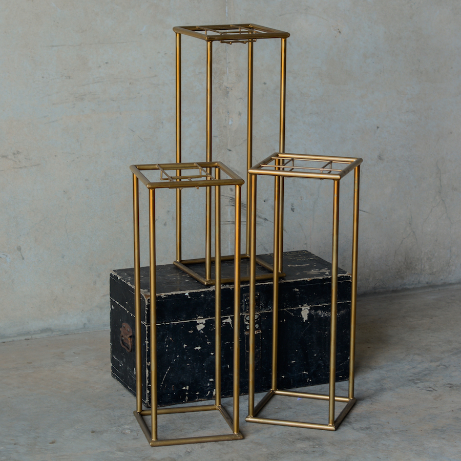 gold geometric stand for tall flower centrepieces
