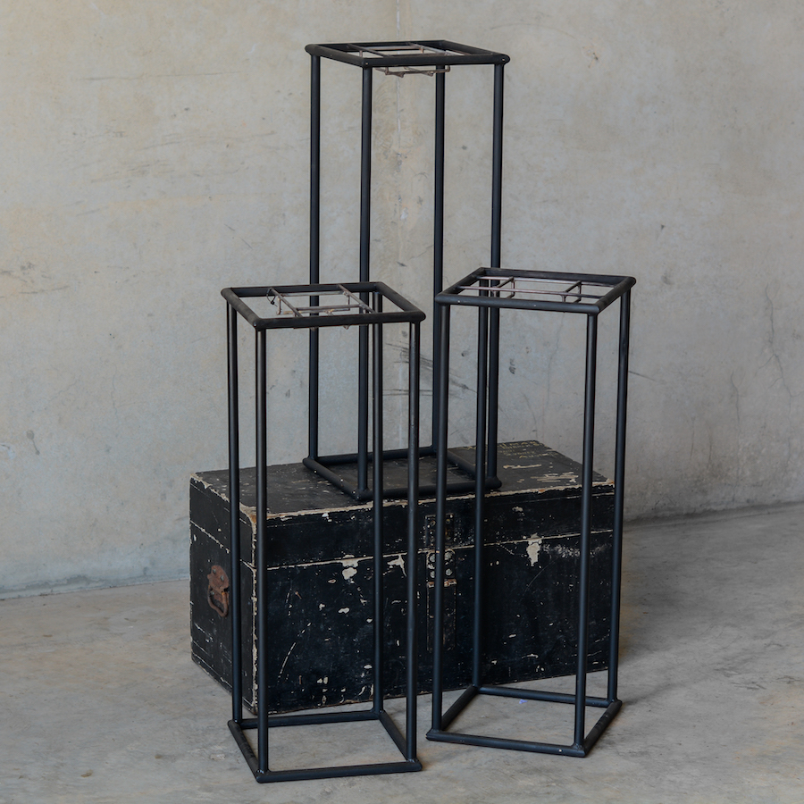 black rectangle steel stands for tall flower centrepieces