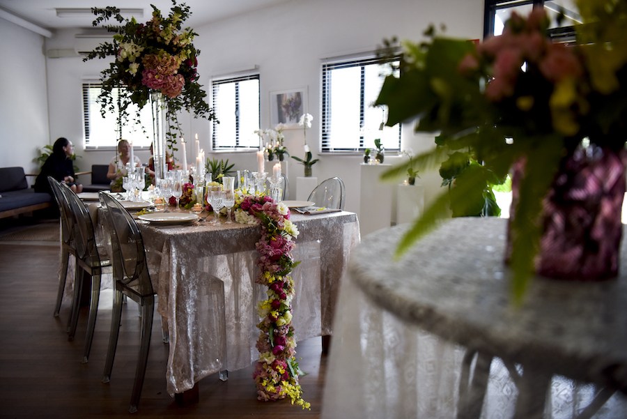 wedding table set up at Beija Flor floral design show room and flower shop in Coconut Grove, Darwin.