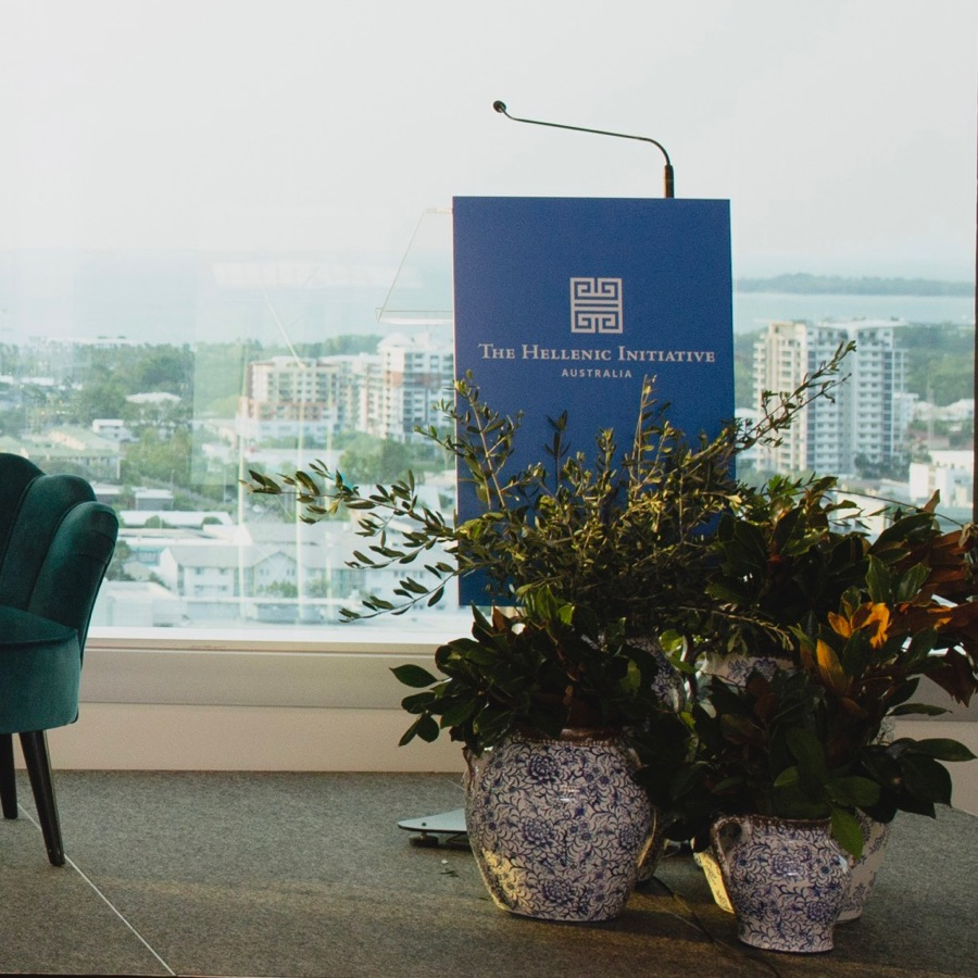 blue and white vases topped with olive branch, floral styling for a fundraising event held in the Paspaley building with spectacular views of Darwin city.