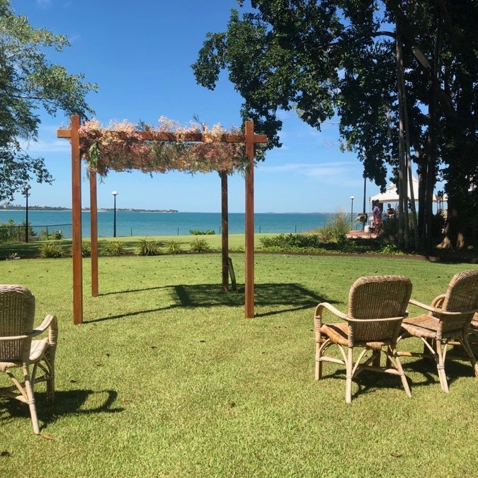 four post timber wedding ceremony arbour, also ideal as a chuppa or mendip, shown here at Darwin wedding venue Pee Wees for an outdoor wedding ceremony.