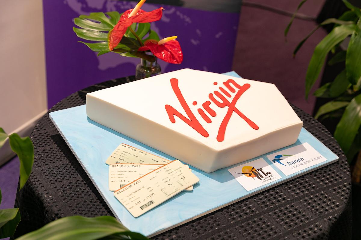 Cake for Virgin Bali flight launch at Darwin International Airport