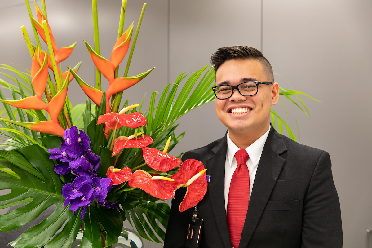 Locally grown tropical flowers, heliconia and anthuriums for Virgins Darwin to Bali flights launch party