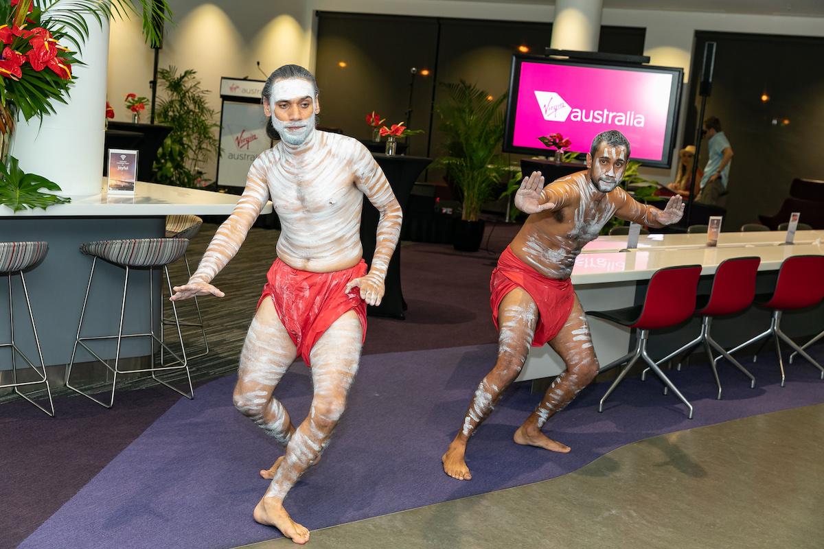 Entertainment at Virgin lounge, Darwin to Bali flights launch