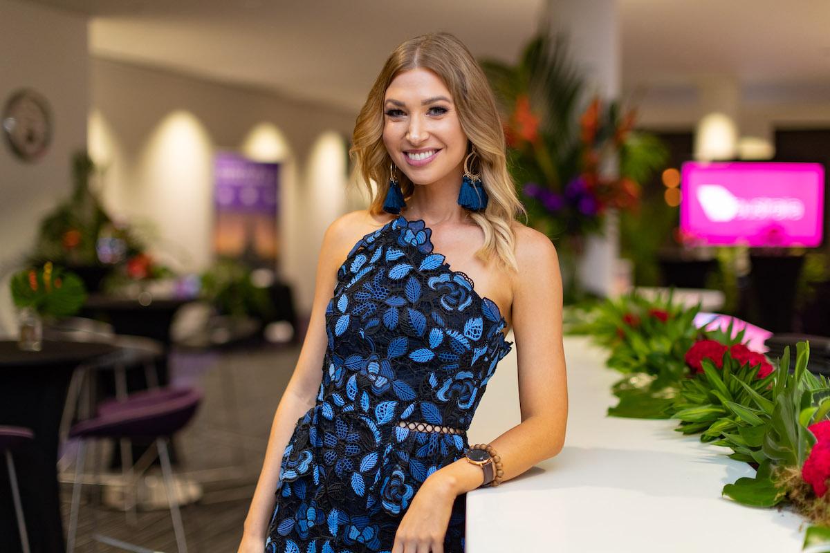 Amanda hosting the Virgin Bali flight launch party at Darwin International Airport
