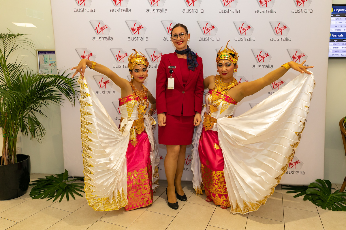 Balinese dancers celebrate the launch of Virgins flights to Bali from Darwin