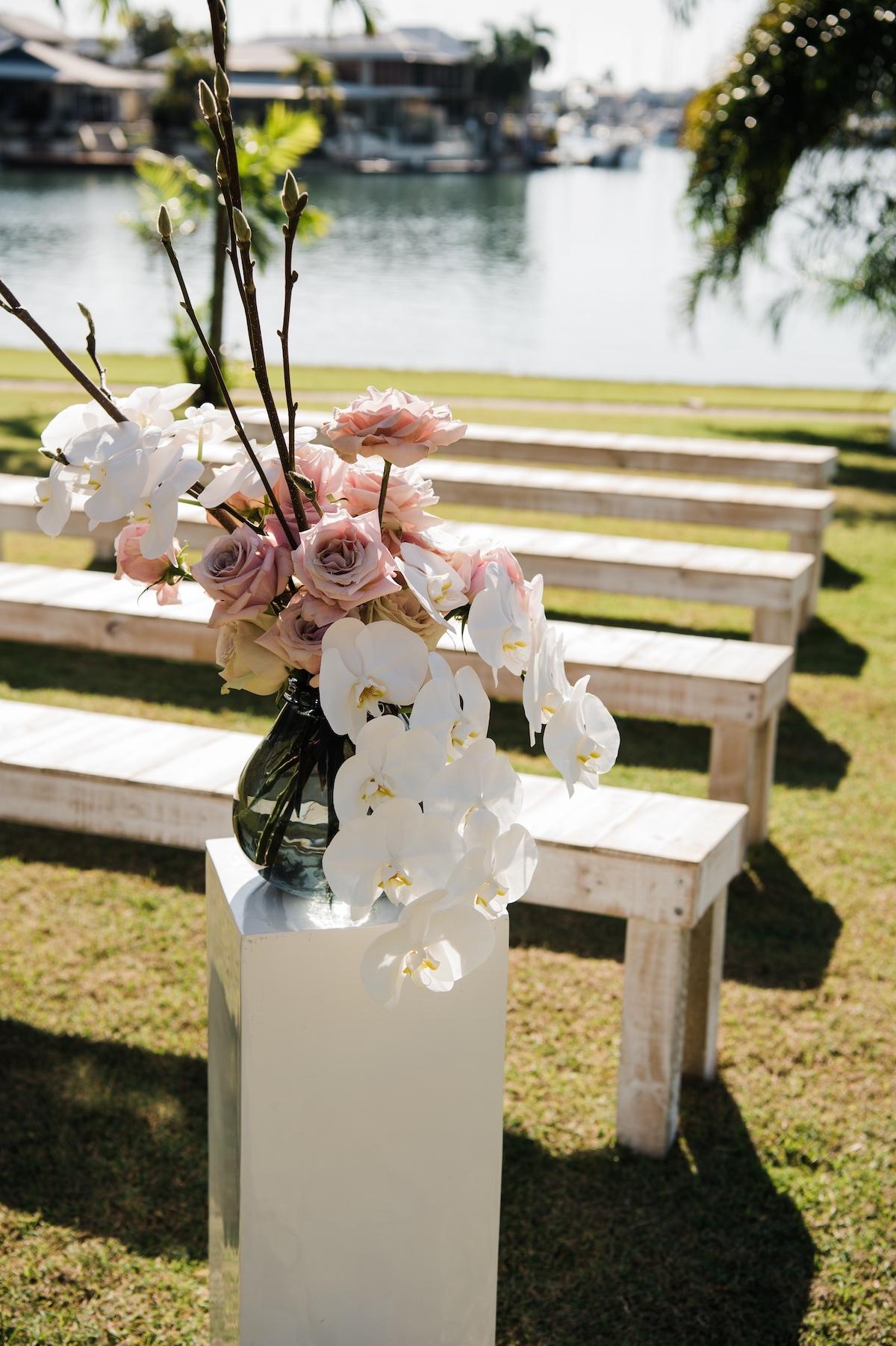 freestanding floral display for wedding entrance