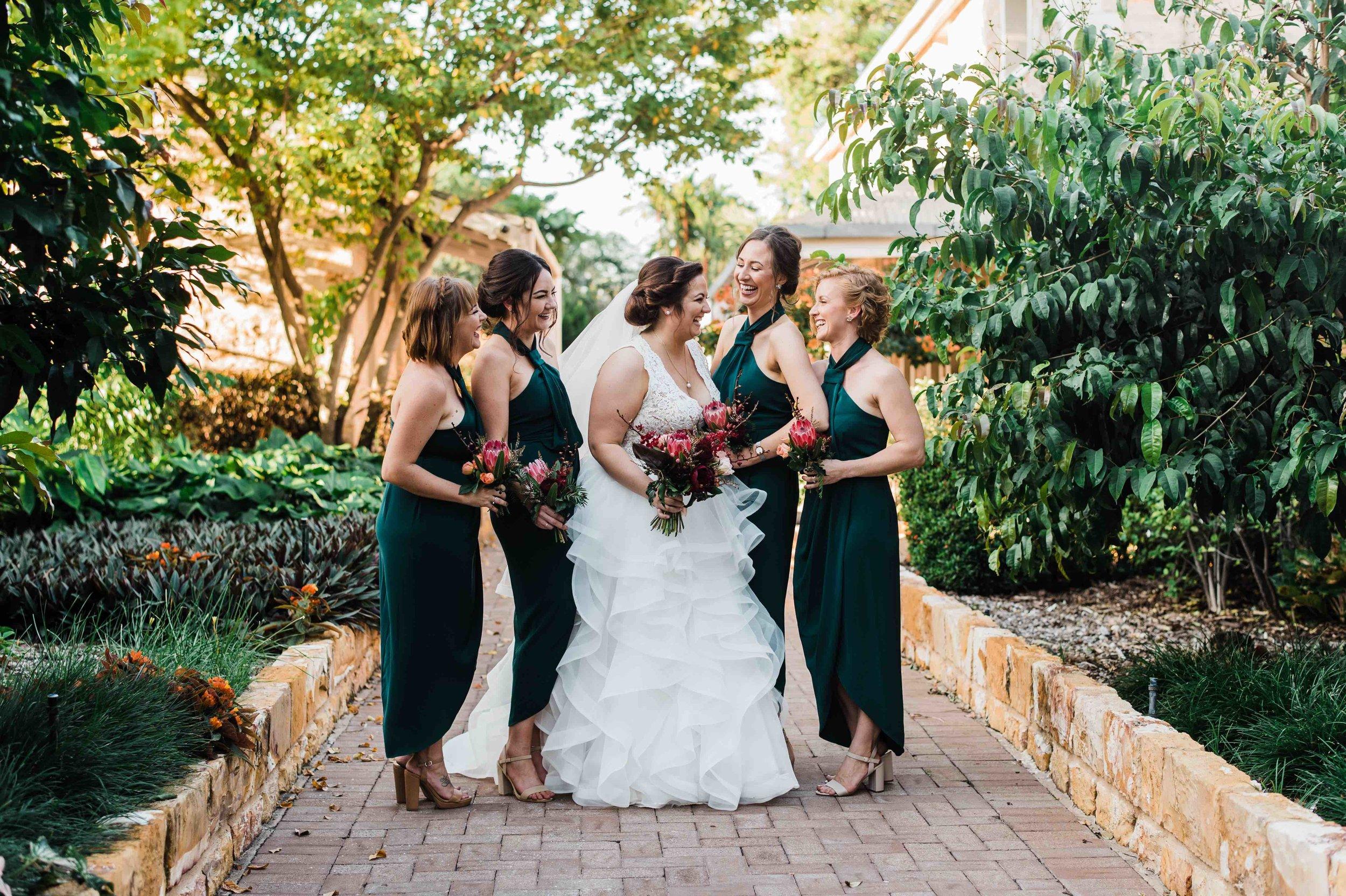 bride and bridesmaids at Darwin wedding