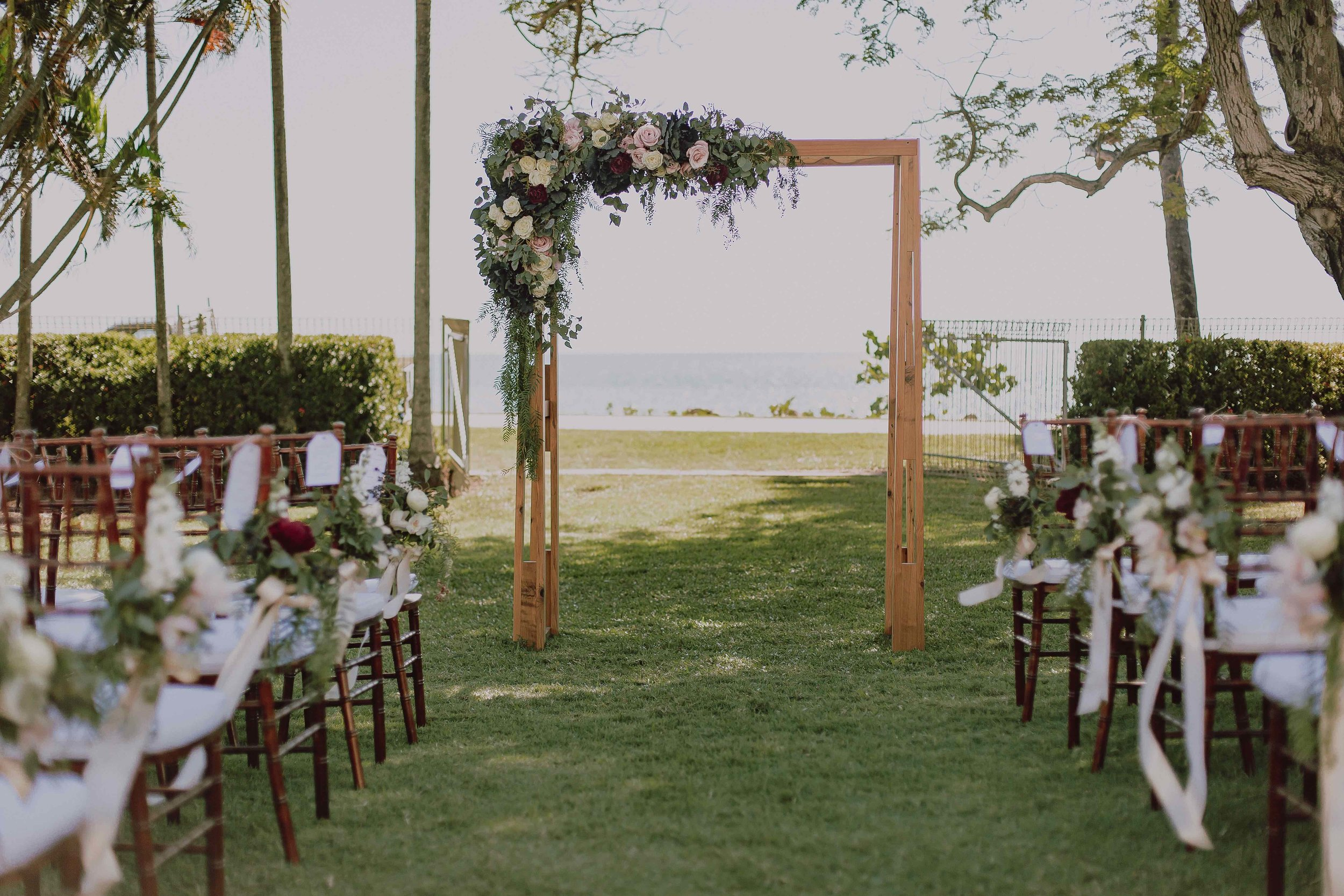 wedding ceremony at Mindel Beach Casino lawns, timber wedding arbour from Beija Flor