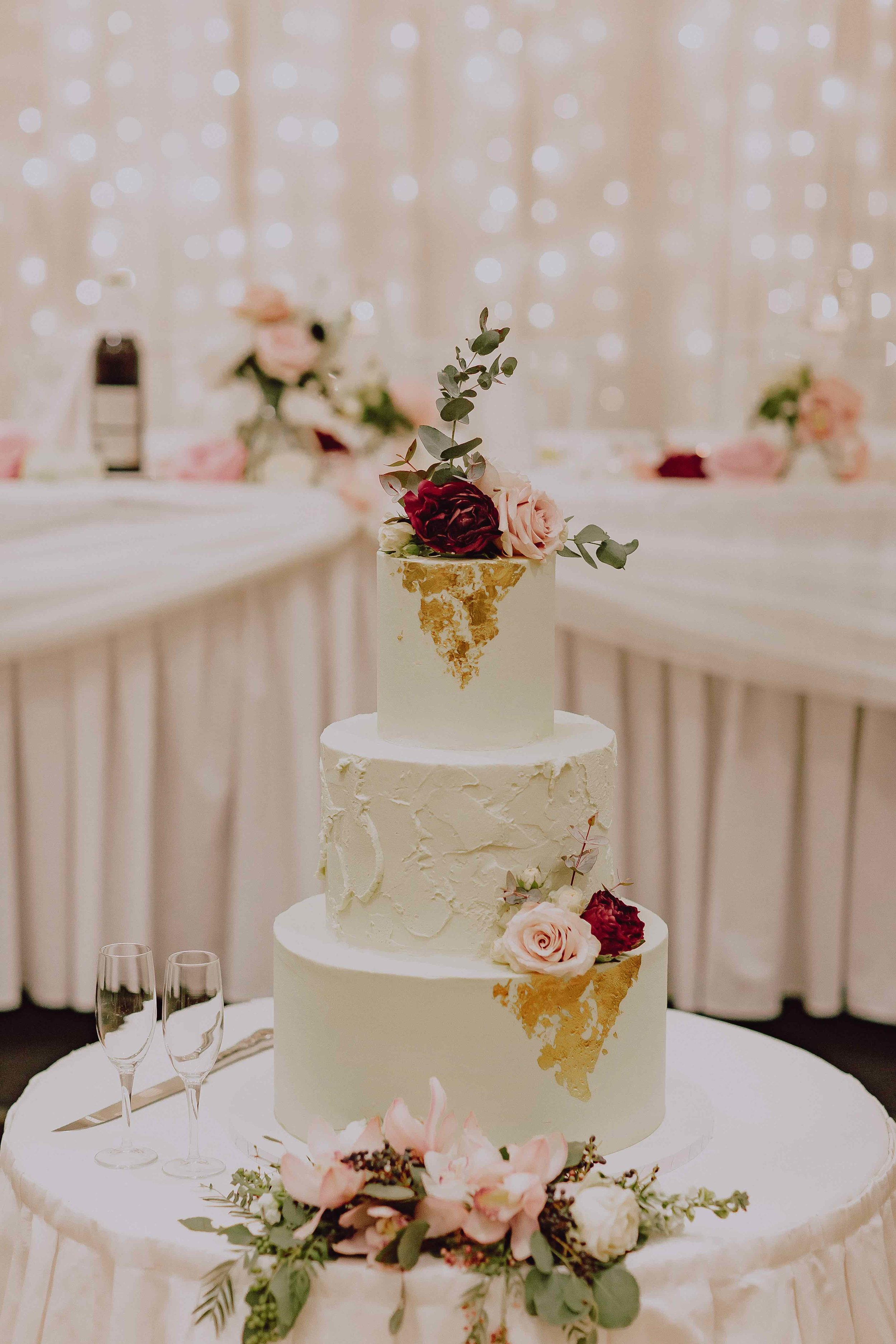 Three tier wedding cake at the ballroom, Mindel Beach casino and resort.