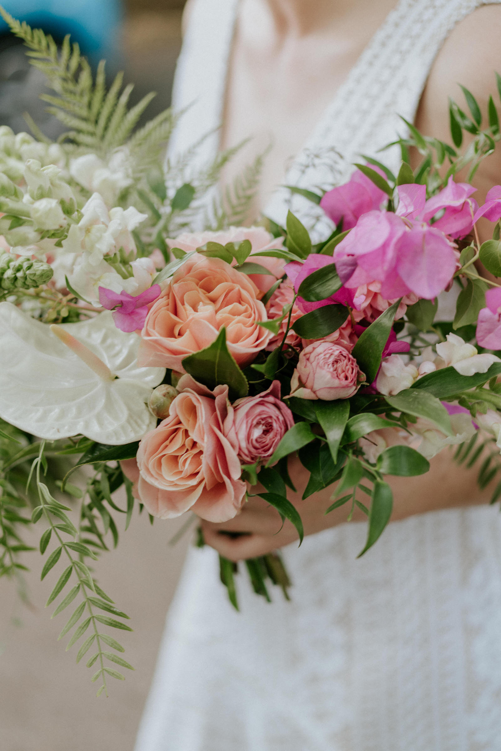 Beija Flor tropical brides bouquet with bougainvillea and anthuriums, photo by James Day