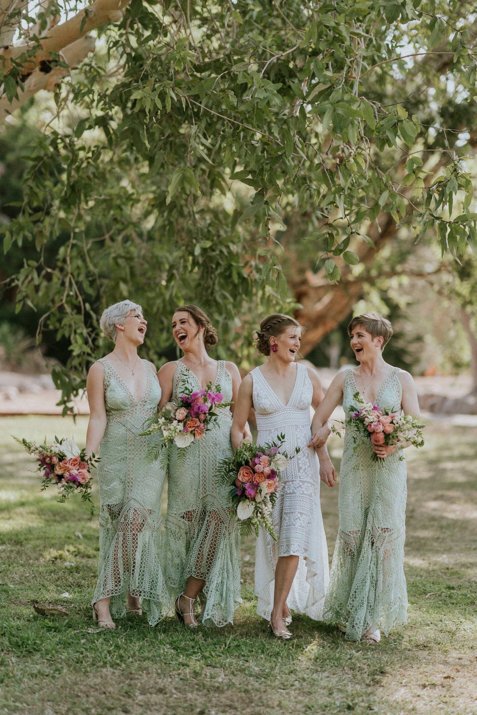 Beija Flor bridesmaids tropical flower bouquets, photo by James Day