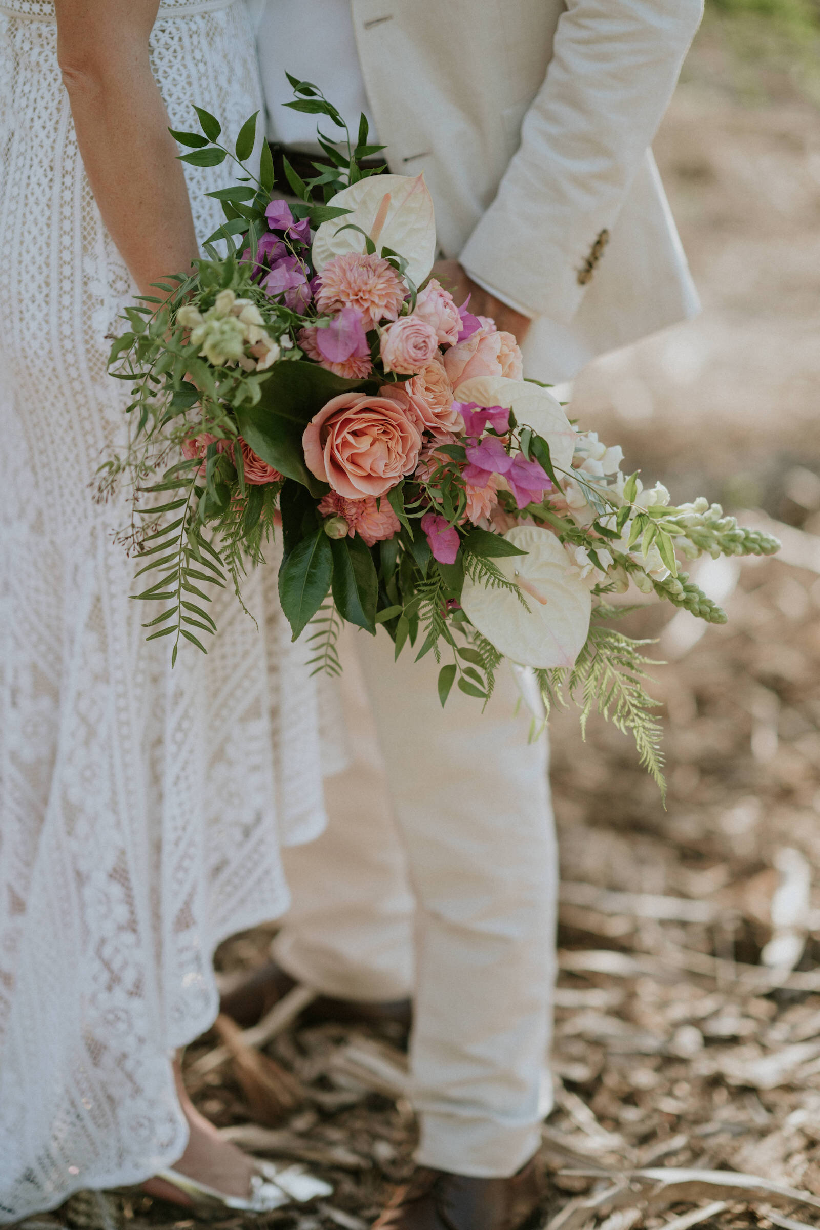 Beija Flor bridal bouquet with tropical feel, photo by James Day
