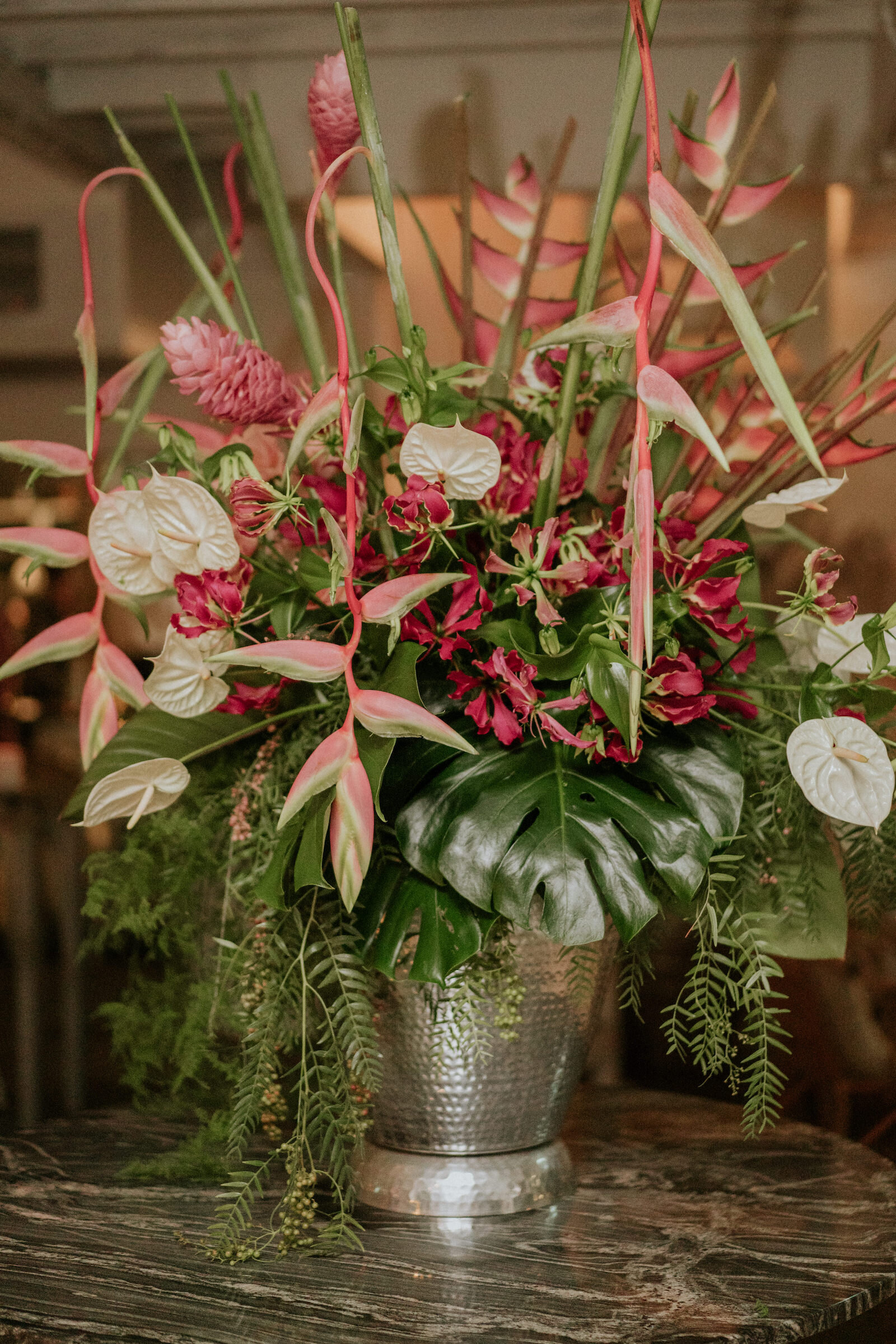 Beija Flor feature vase of tropical blooms, at Trader Bar, photo by James Day