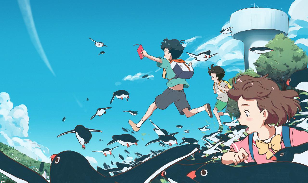 La animación de  Penguin Highway  es muy resultona; llama especialmente la atención el movimiento y el gran colorido.