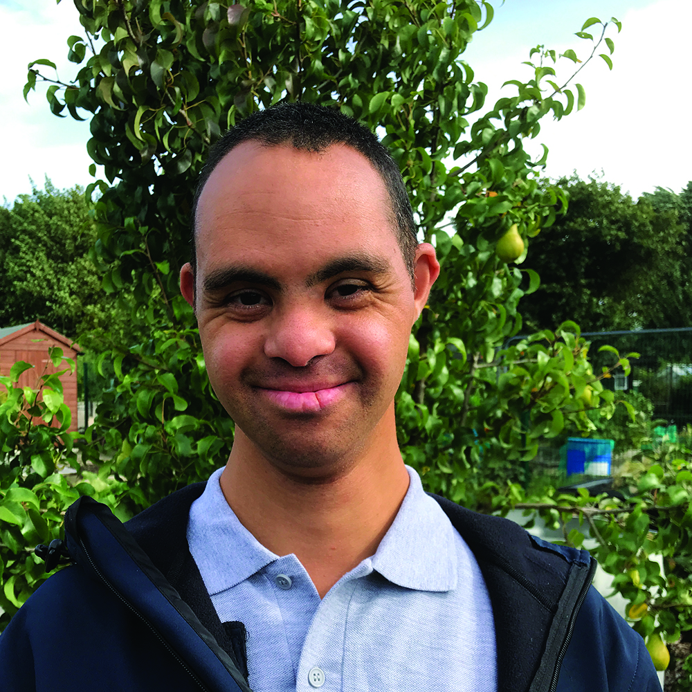 """Nathaniel - Horticulture Volunteer - """"The things I like about volunteering are keeping the cabin clean, and working with the students when we clean the plant pots and prepare the wood for planters""""."""