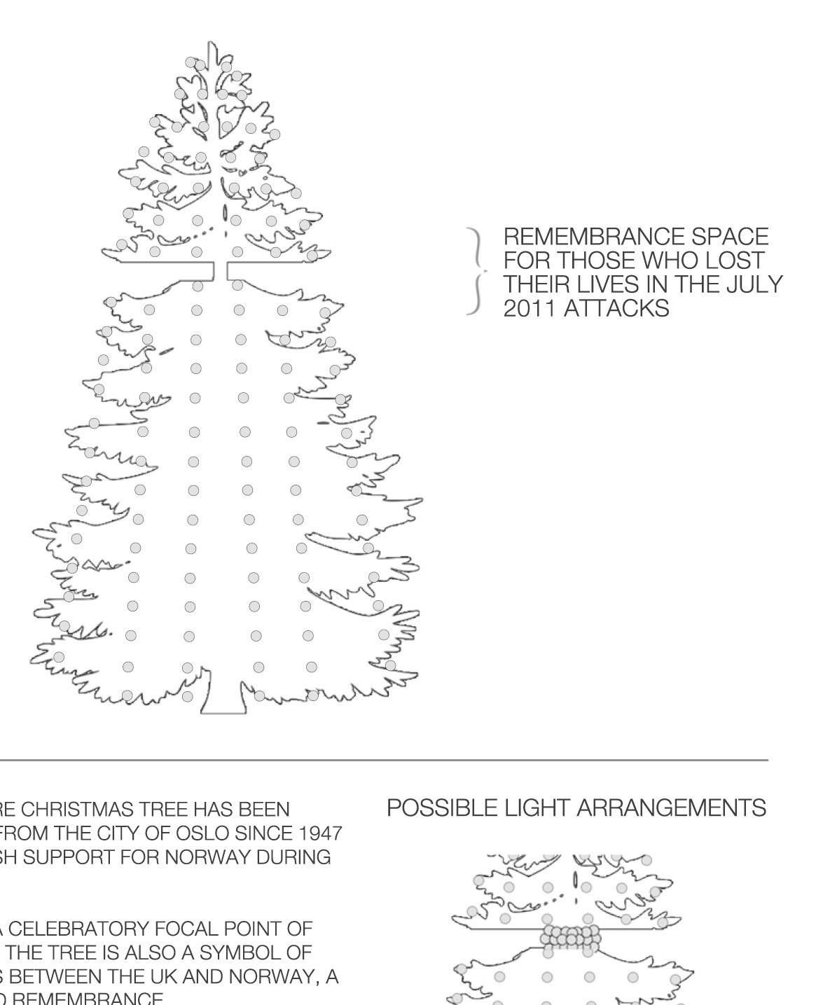 Creative spec for YESMUTHA's proposed arrangements for the 2011 Christmas Tree lights in Trafalgar Square.